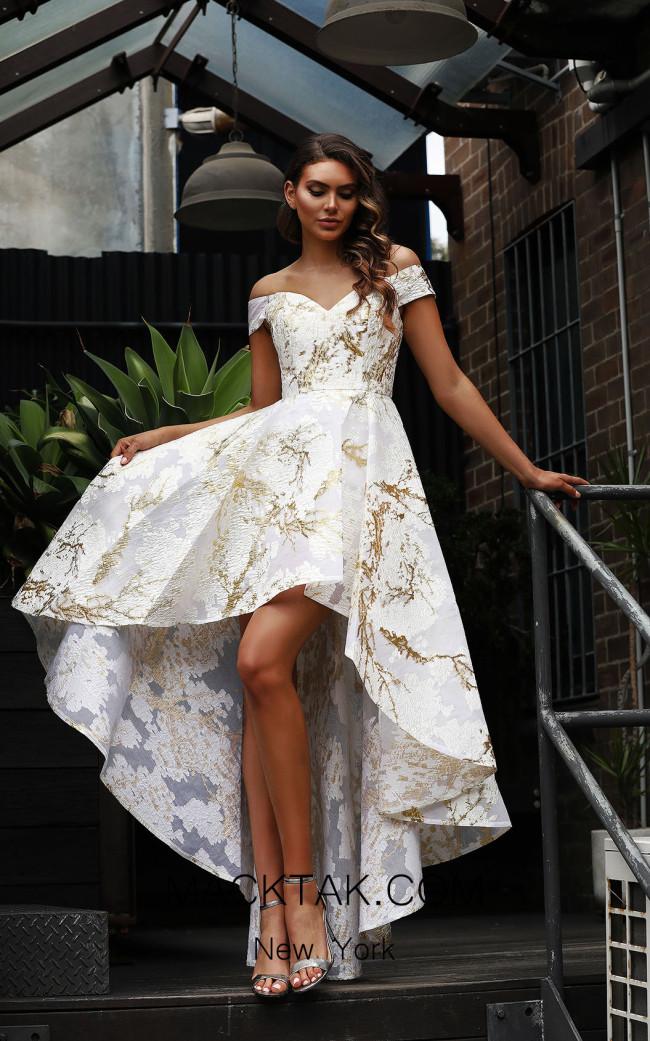 Jadore Australia JX3066 Ivory Gold Front Dress