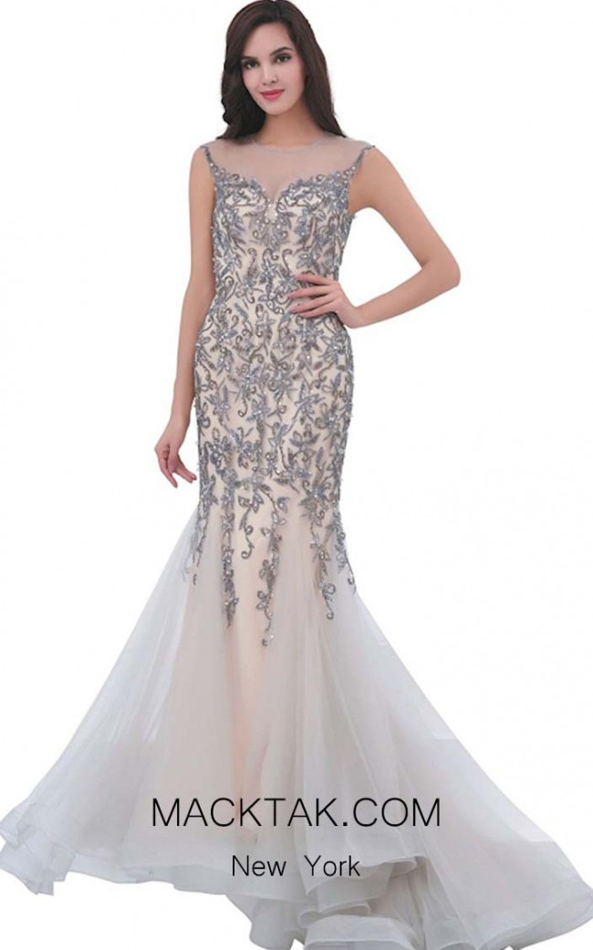 Jadore J11325 Gray Nude Front Dress