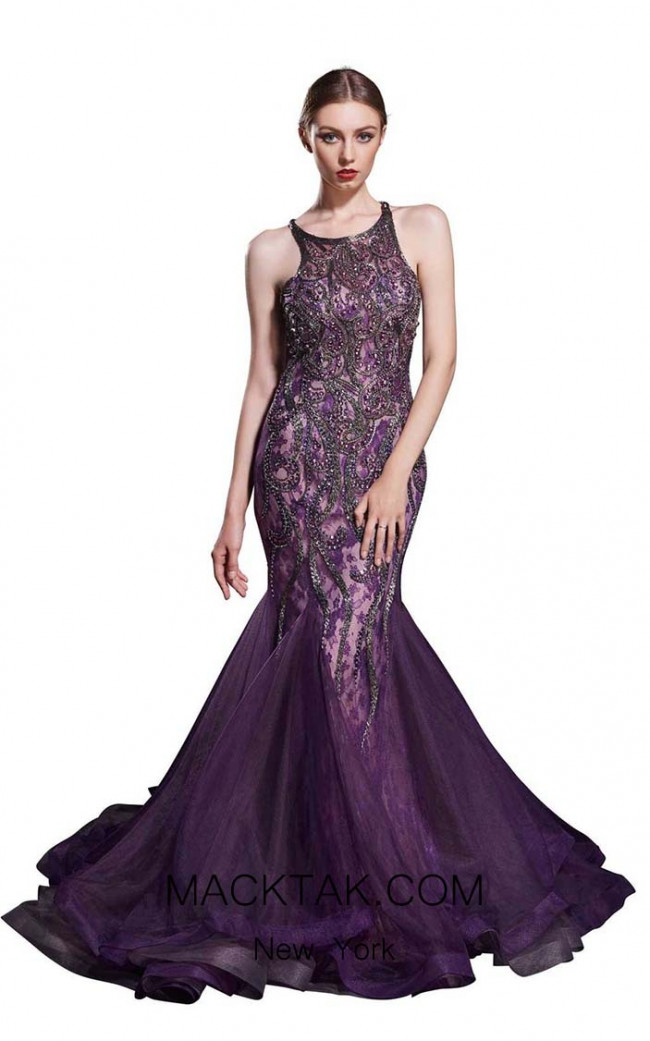 Jadore J12067 Purple Front Dress