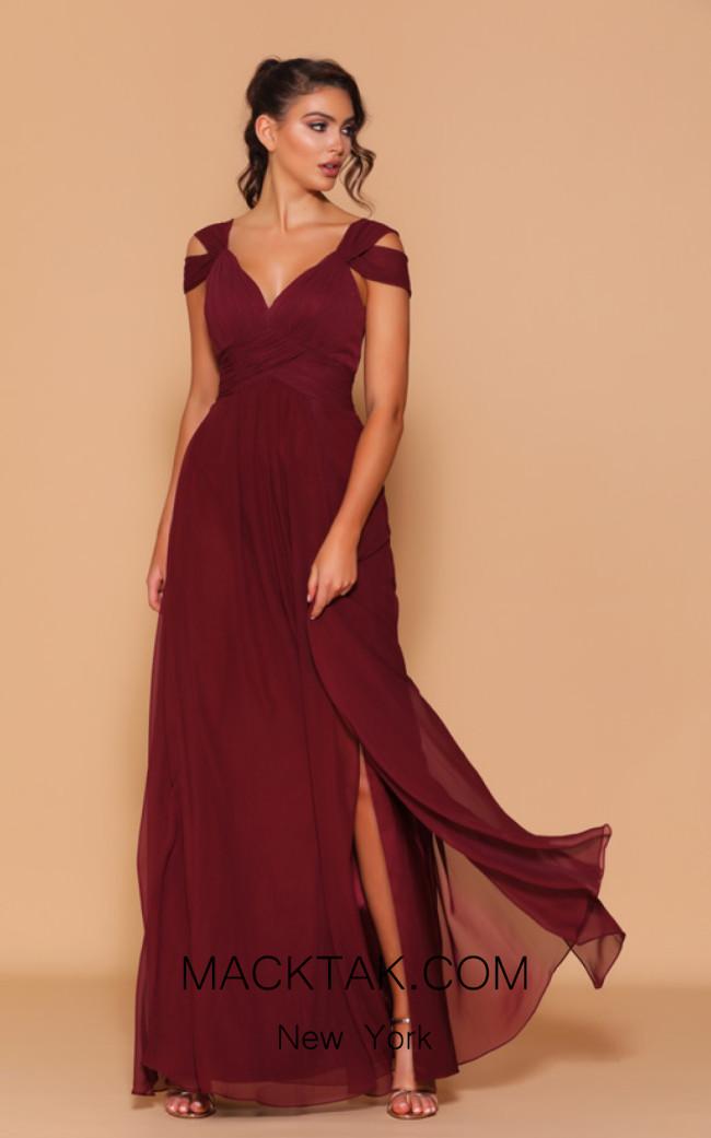 Jadore Les Demoiselle LD1055 Wine Front Dress