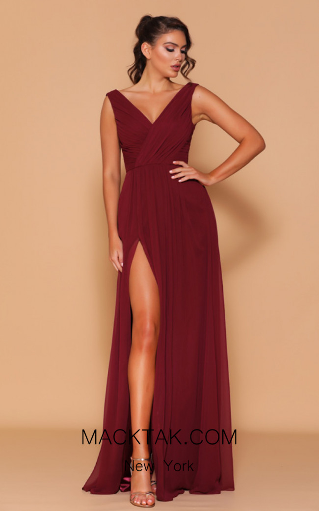 Jadore Les Demoiselle LD1070 Wine Front Dress