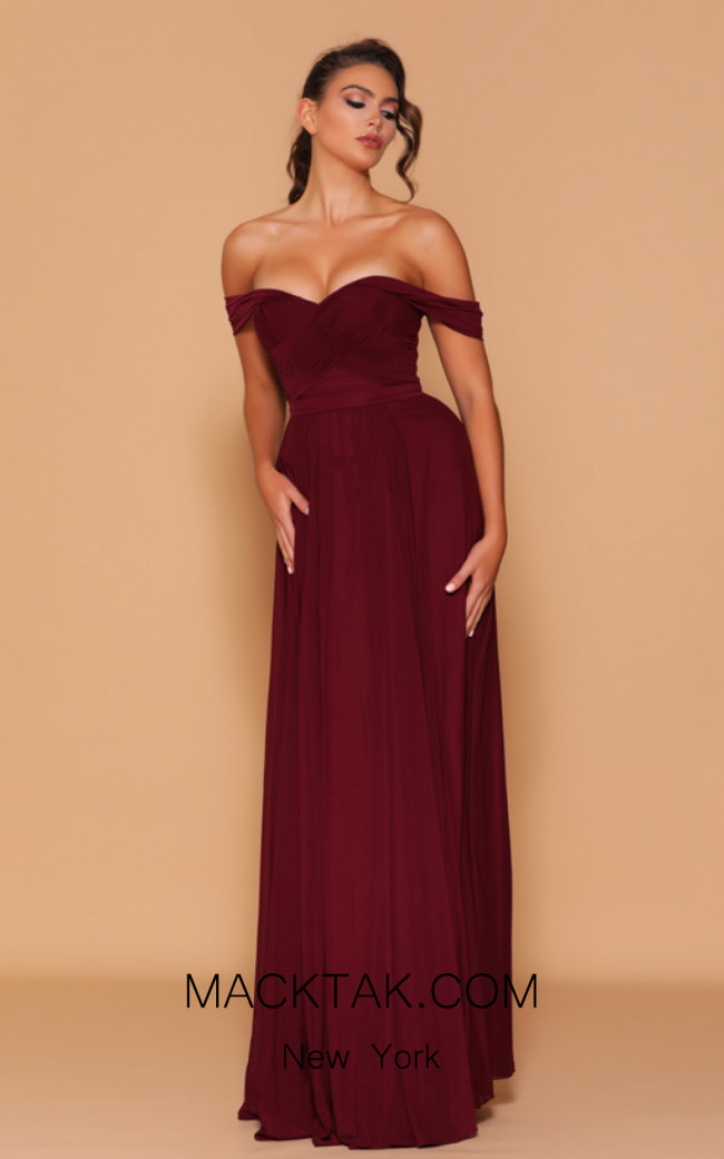 Jadore Les Demoiselle LD1104 Wine Front Dress