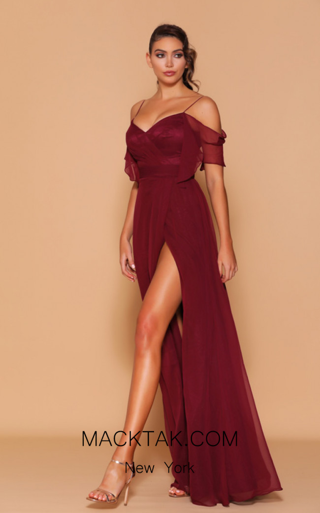 Jadore Les Demoiselle LD1098 Wine Front Dress