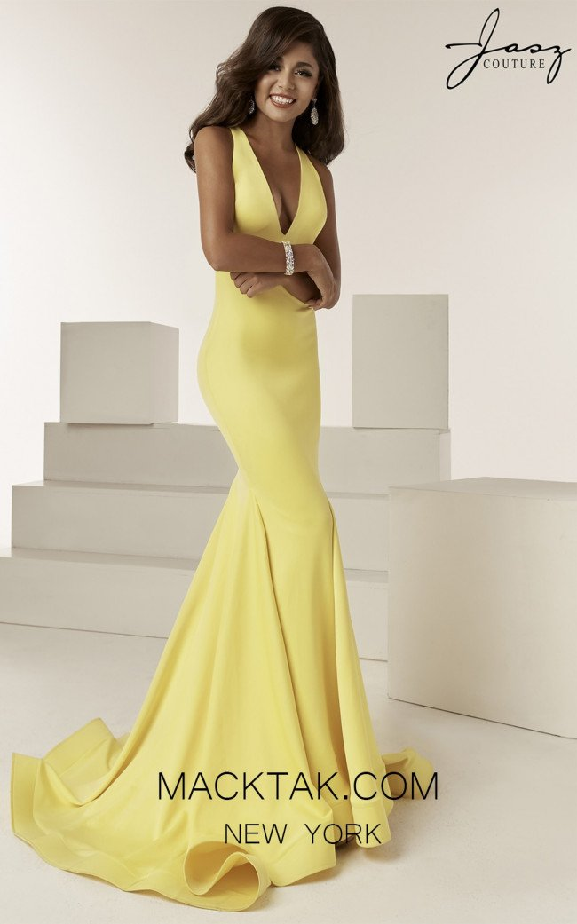 Jasz Couture 6222 Yellow Front Prom Dress
