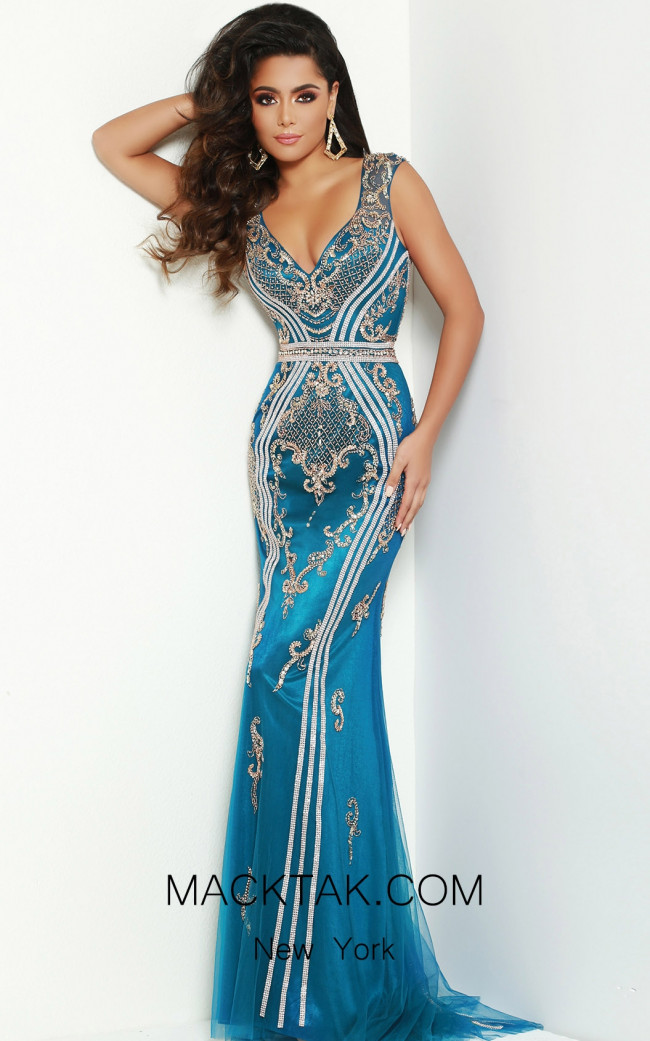 Jasz Couture 6426 Teal Front Dress