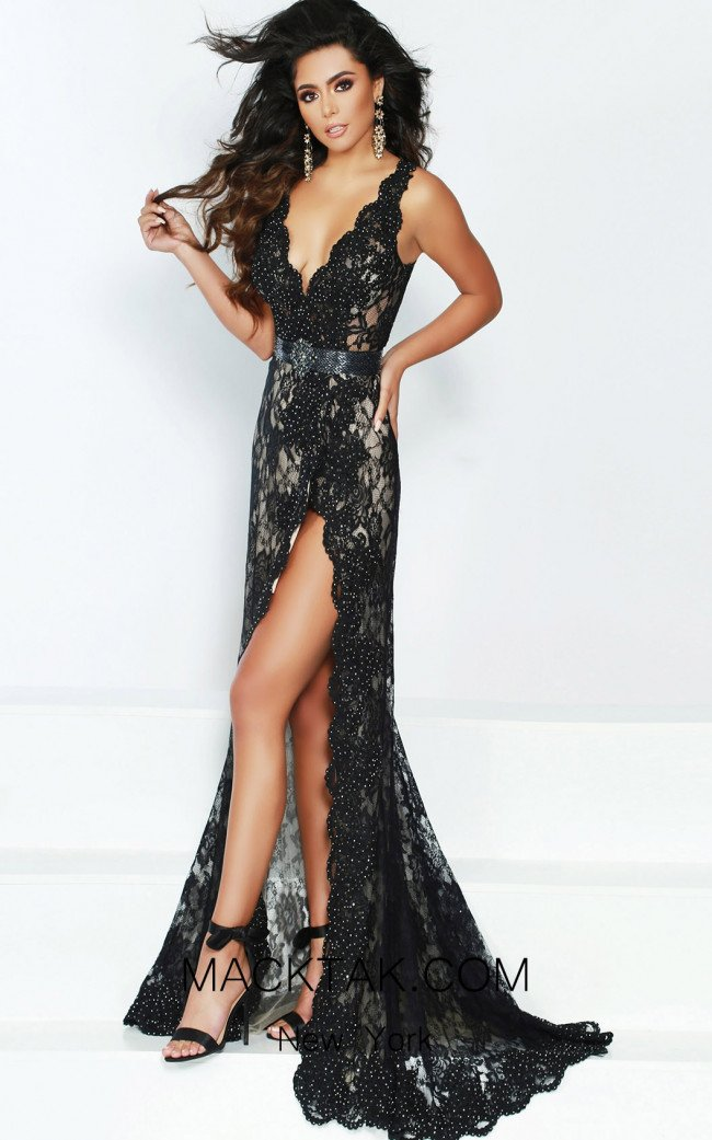 Jasz Couture 6427 Black Front Dress