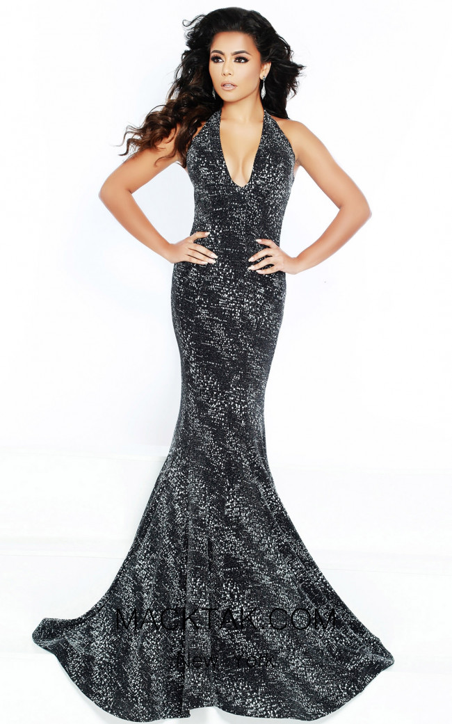 Jasz Couture 6428 Black Silver Front Dress