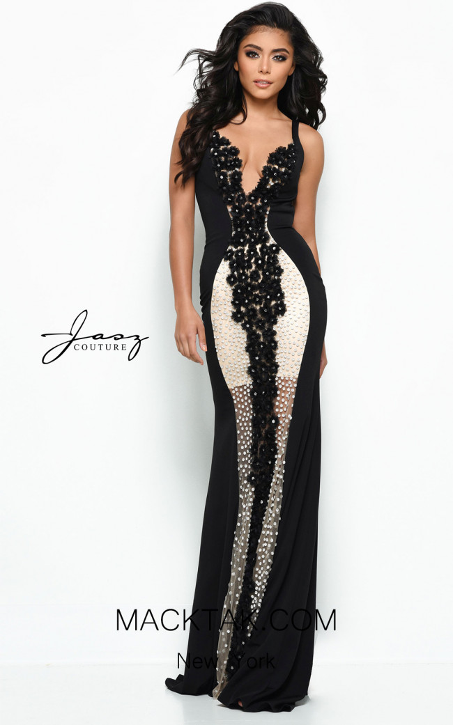 Jasz Couture 7001 Black Front Dress