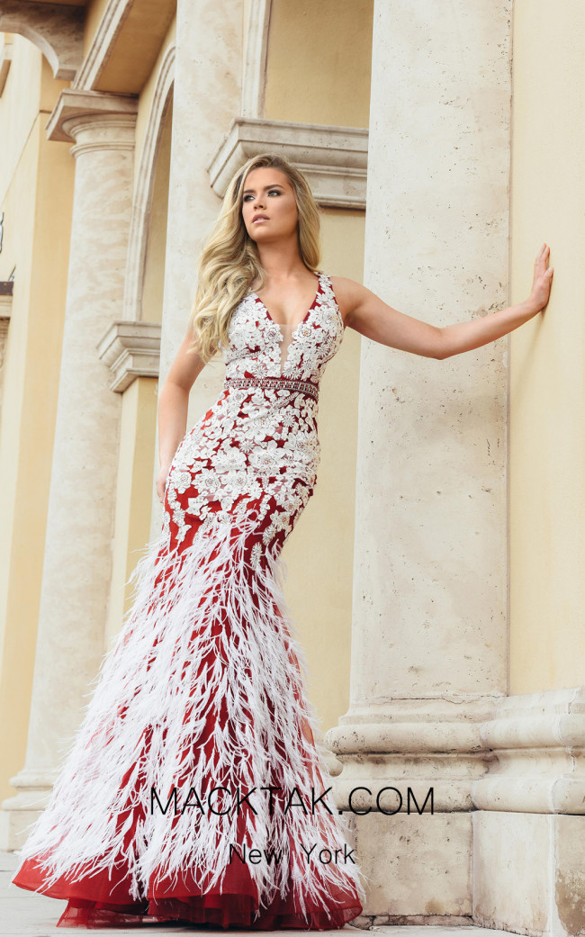 Jasz Couture 7003 Burgundy White Front Dress