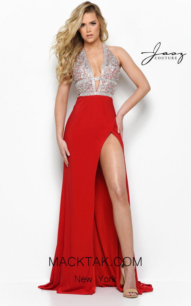 Jasz Couture 7006 Red Front Dress