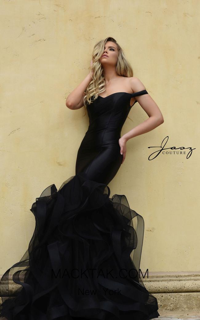 Jasz Couture 7008 Black Front Dress