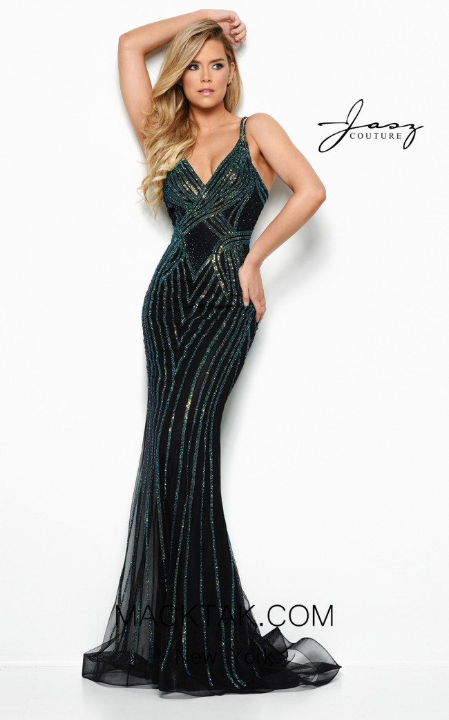 Jasz Couture 7011 Black Green Front Dress
