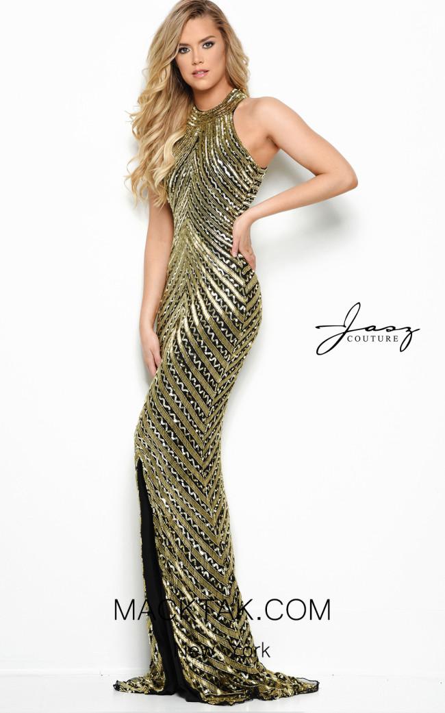 Jasz Couture 7013 Black Gold Front Dress