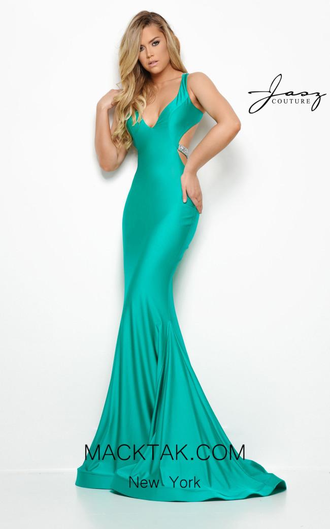 Jasz Couture 7014 Emerald Front Dress