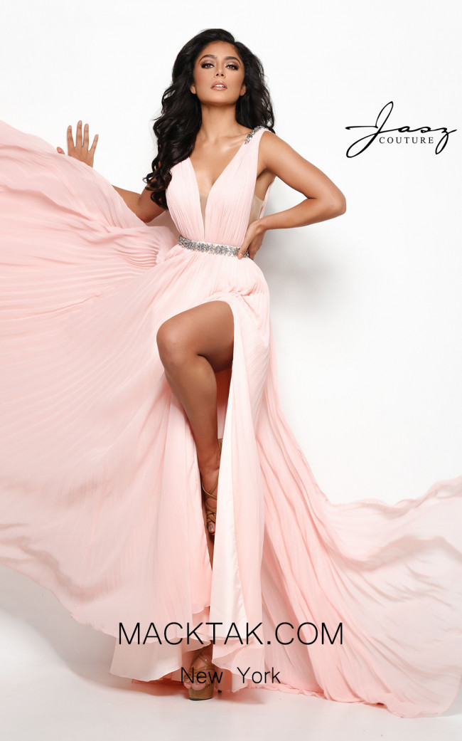 Jasz Couture 7020 Peach Front Dress