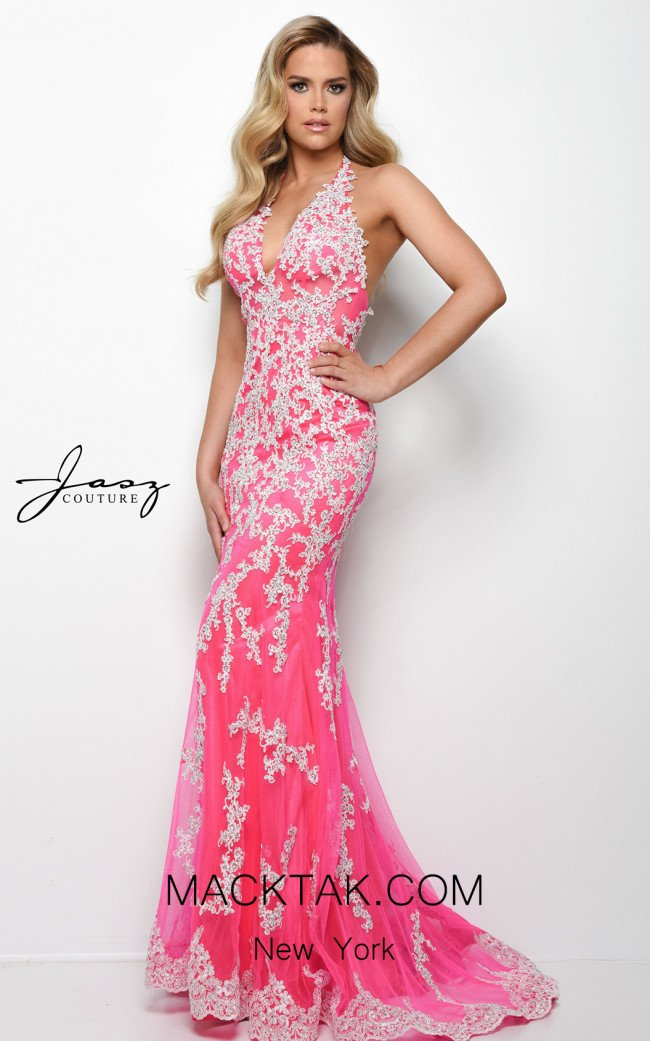 Jasz Couture 7022 Hot Pink Front Dress