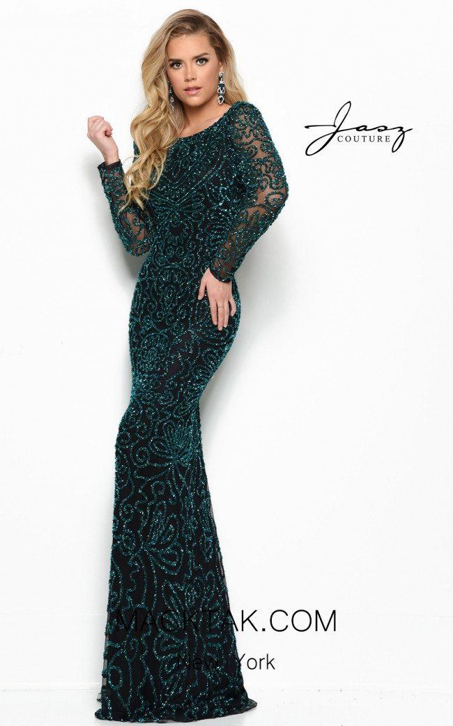 Jasz Couture 7023 Black Emerald Front Dress
