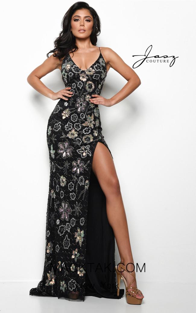 Jasz Couture 7024 Black Front Dress