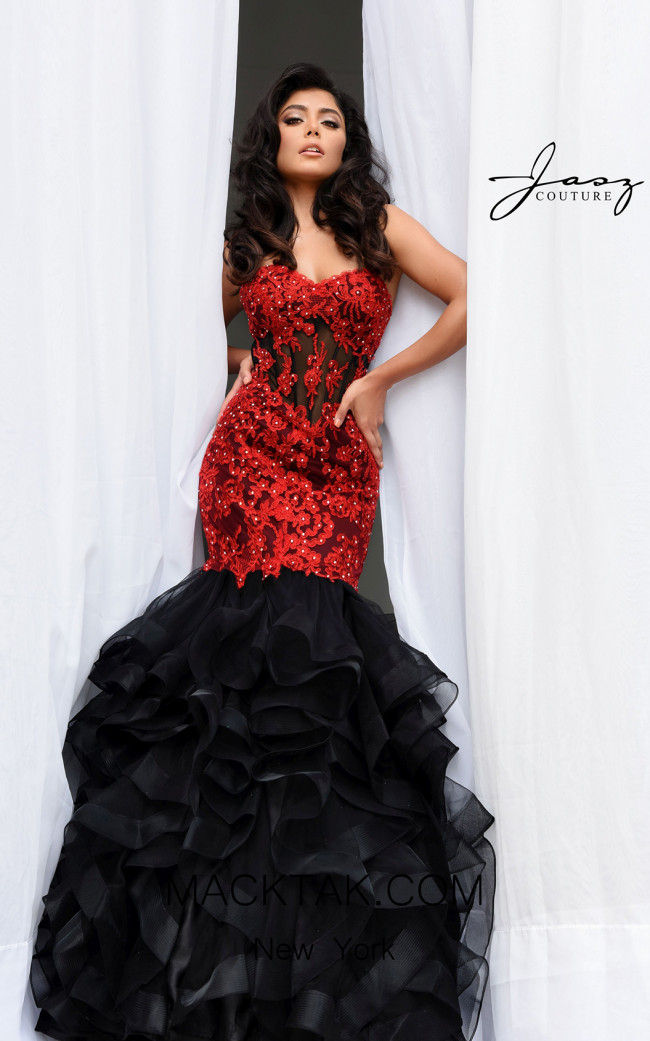 Jasz Couture 7025 Black Red Front Dress