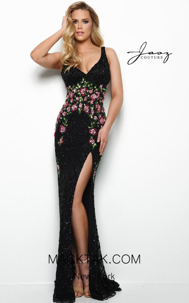 Jasz Couture 7029 Black Front Dress