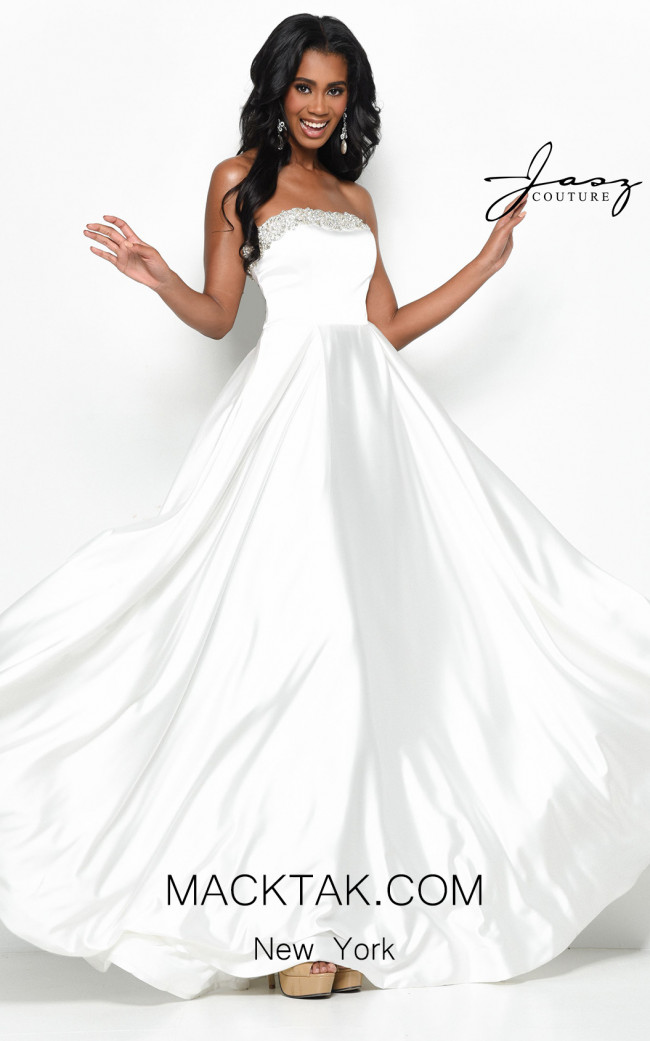 Jasz Couture 7030 White Front Dress