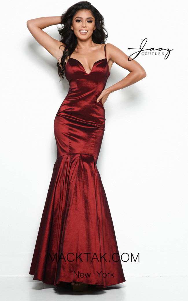 Jasz Couture 7033 Burgundy Front Dress