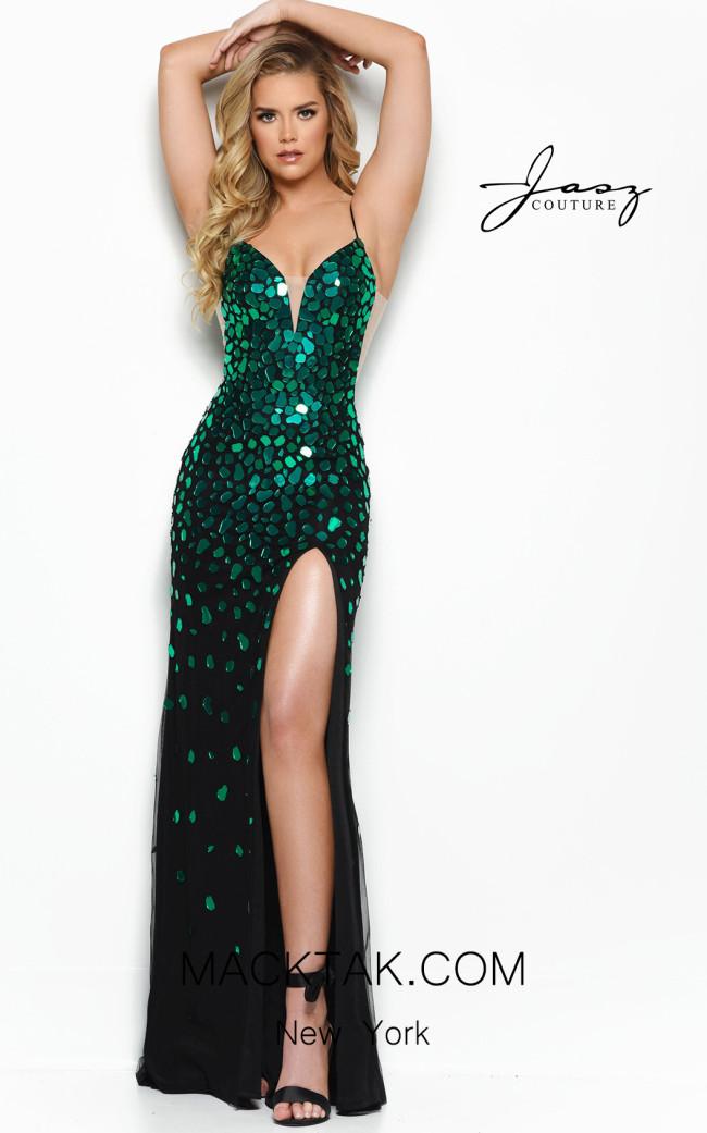 Jasz Couture 7034 Black Green Front Dress
