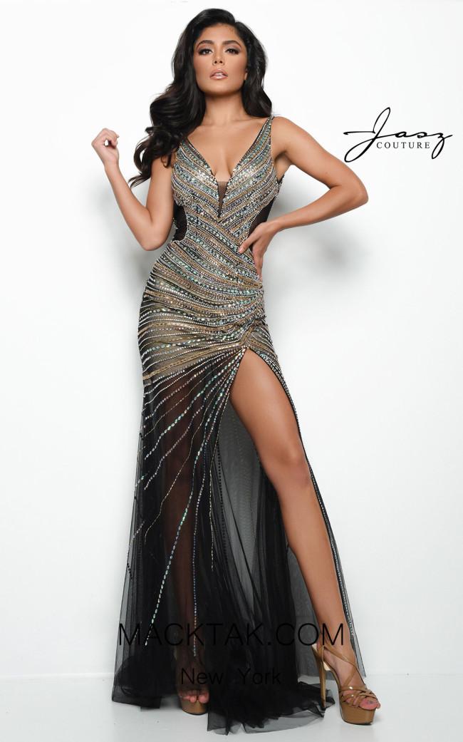 Jasz Couture 7044 Black Front Dress