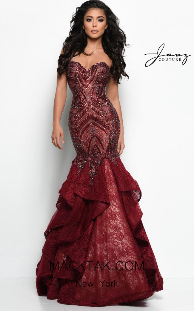 Jasz Couture 7046 Wine Front Dress