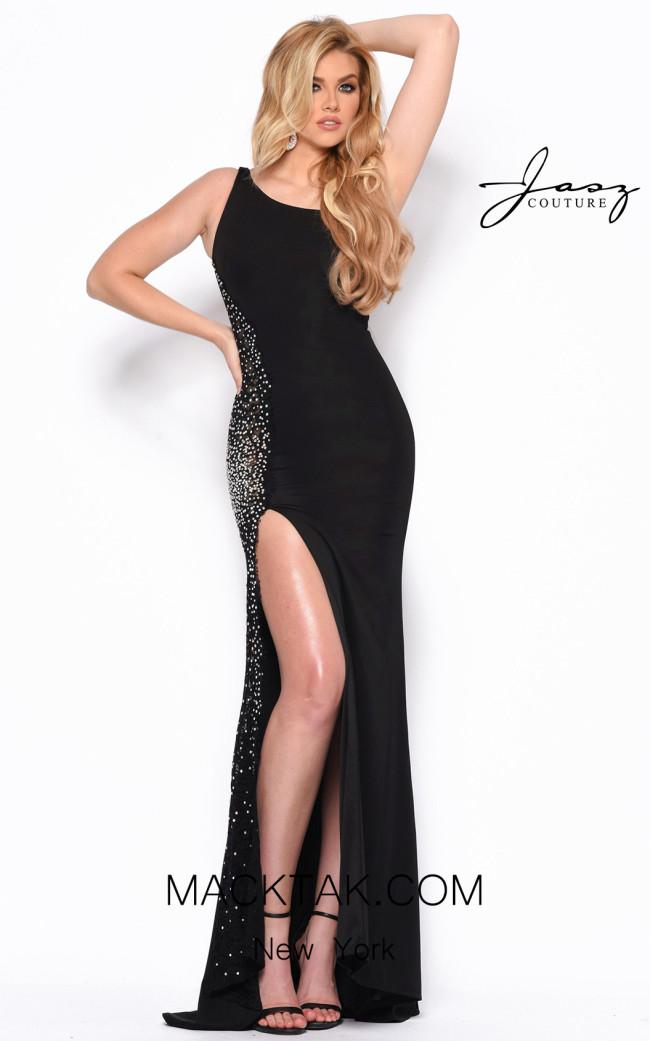 Jasz Couture 7048 Black Front Dress