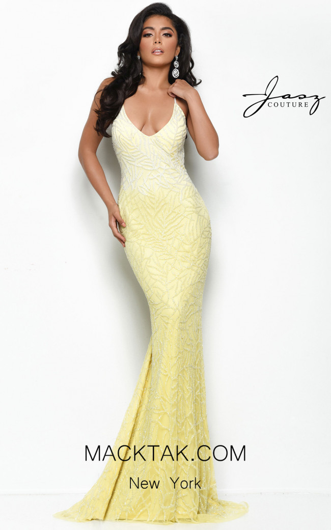 Jasz Couture 7049 Yellow Front Dress