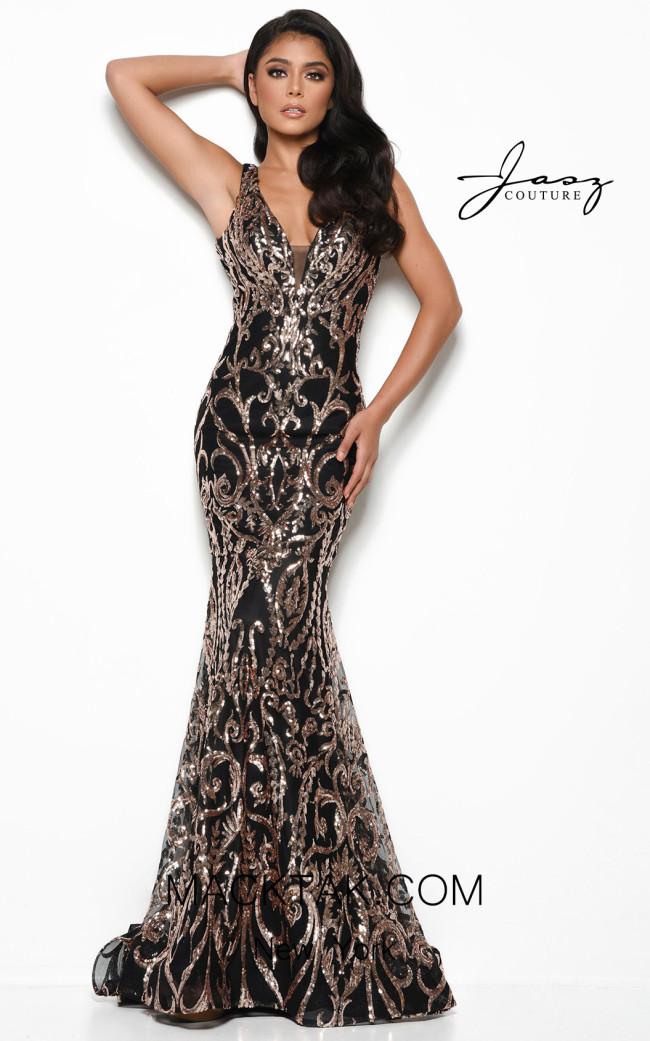 Jasz Couture 7054 Black Gold Front Dress