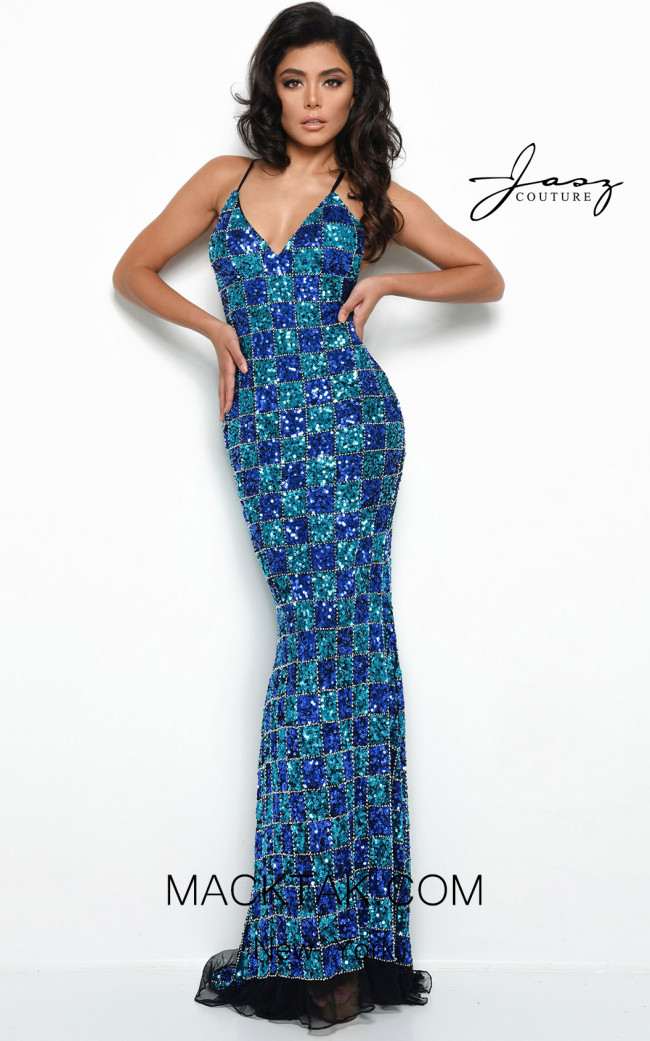 Jasz Couture 7060 Blue Teal Front Dress