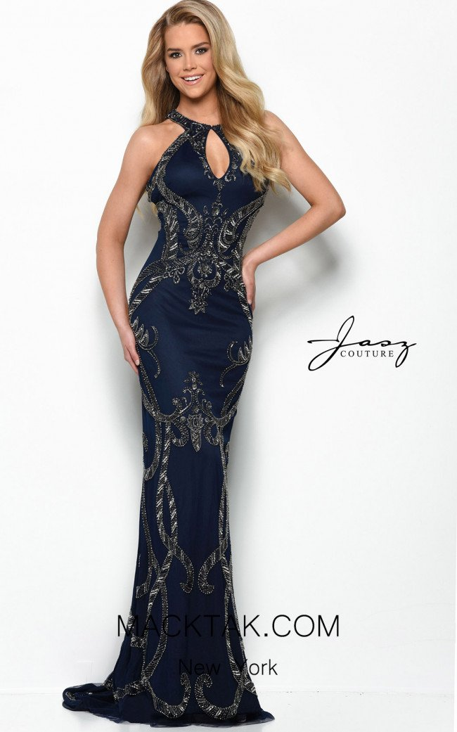 Jasz Couture 7065 Navy Gunmetal Front Dress