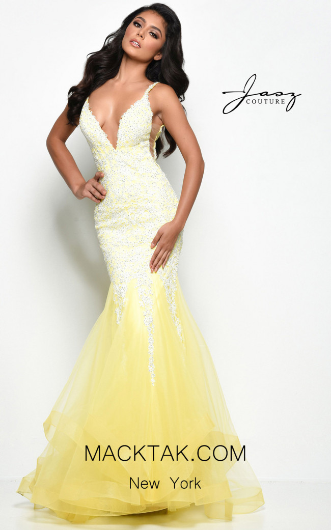 Jasz Couture 7069 Yellow Front Dress