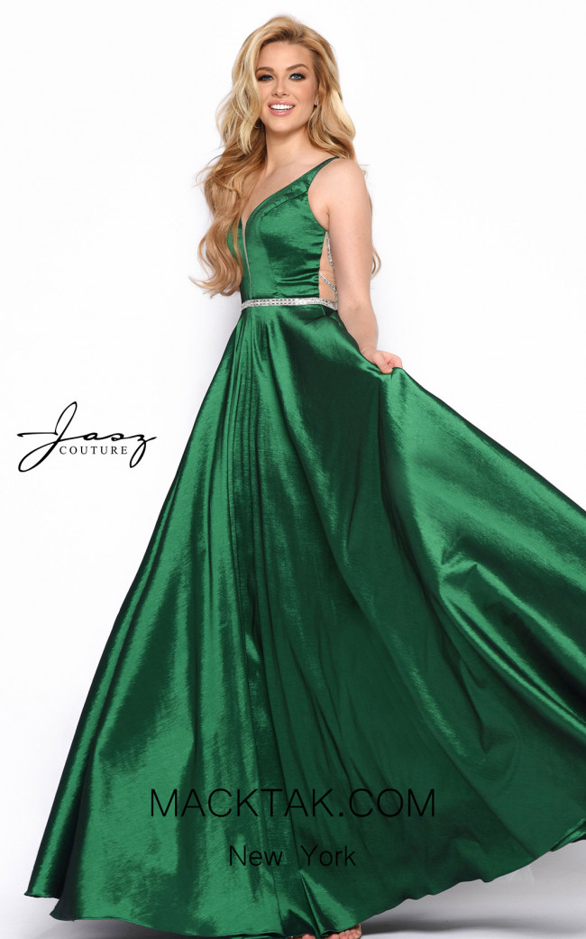 Jasz Couture 7070 Hunter Green Front Dress