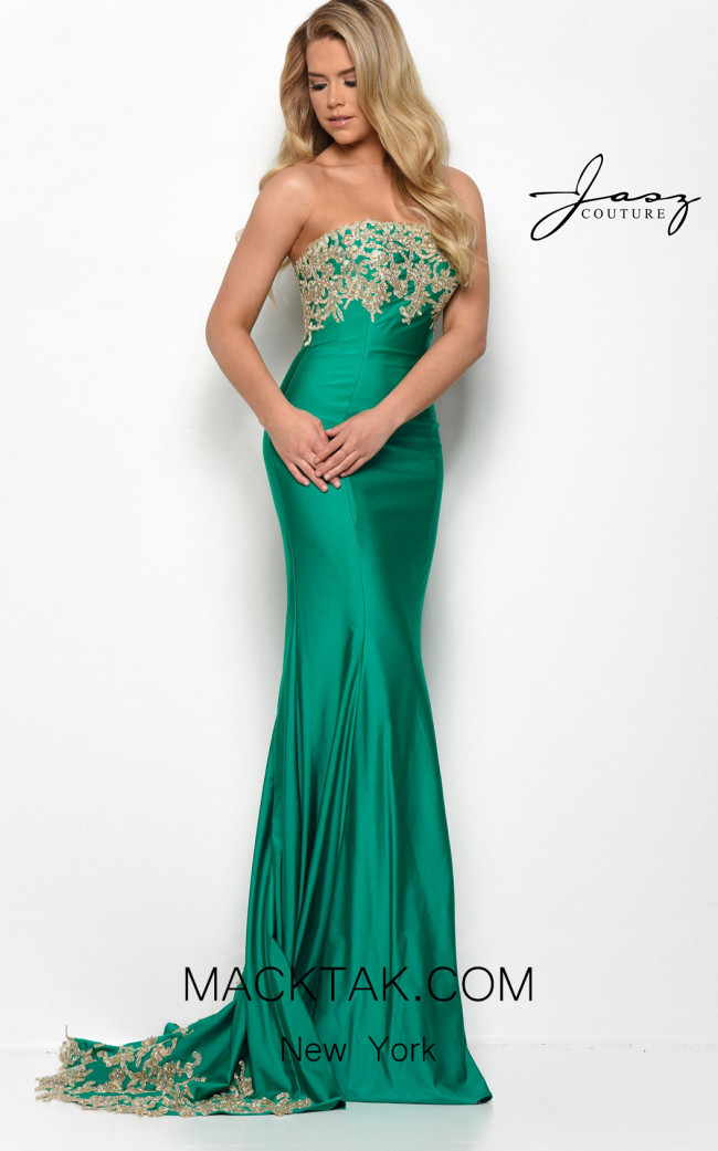 Jasz Couture 7071 Emerald Gold Front Dress