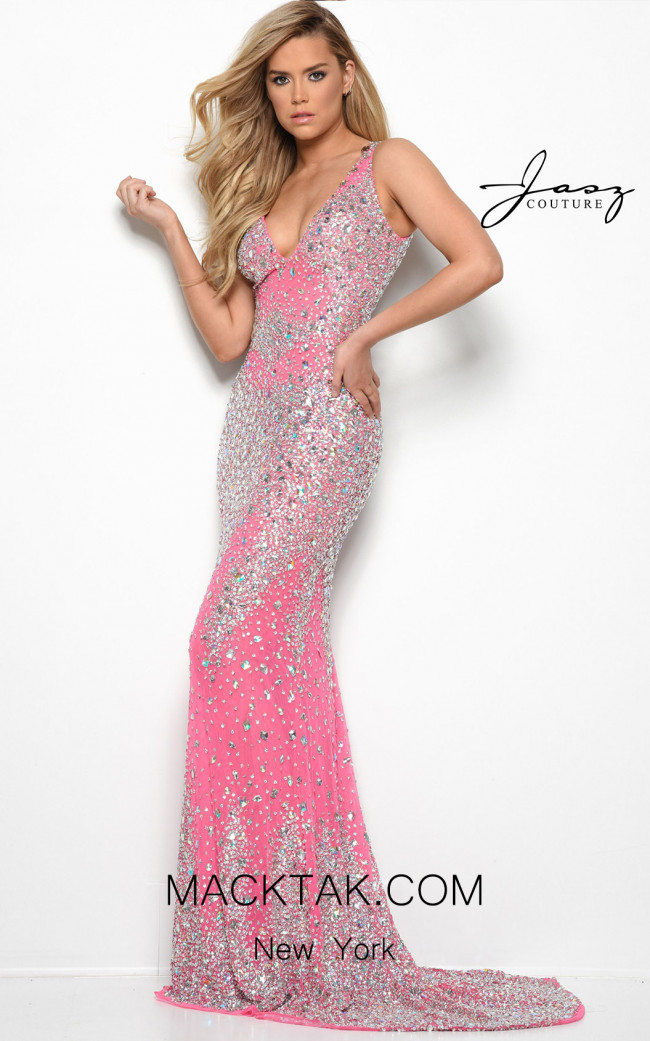 Jasz Couture 7073 Hot Pink Front Dress