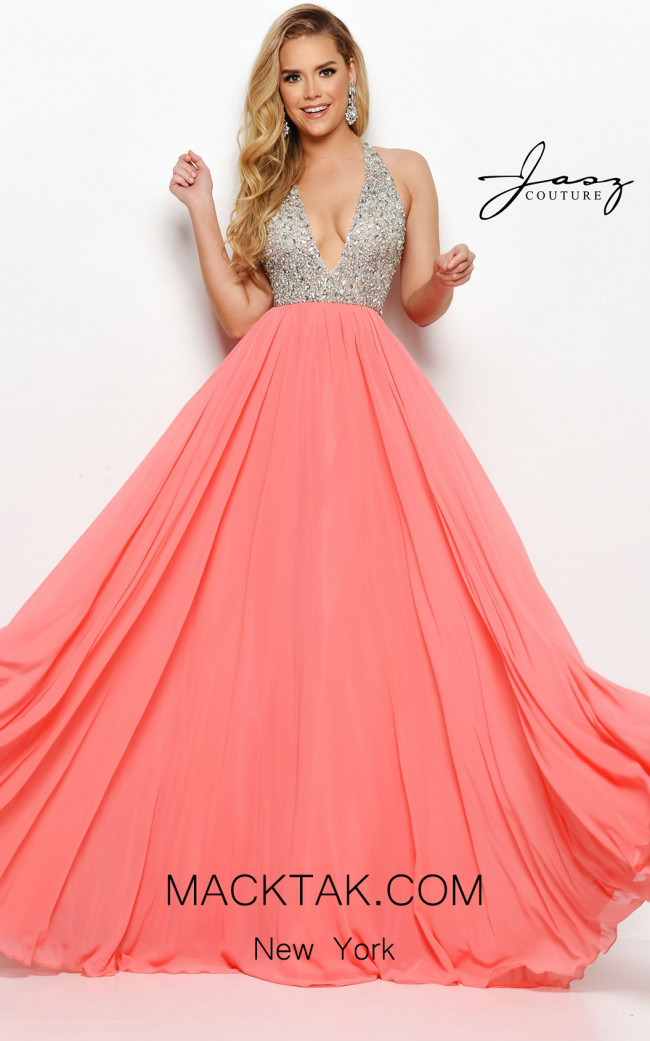 Jasz Couture 7076 Coral Front Dress