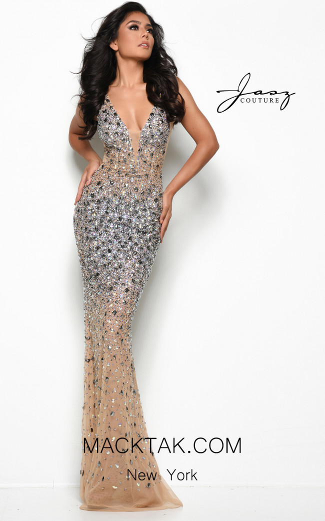 Jasz Couture 7077 Nude Front Dress