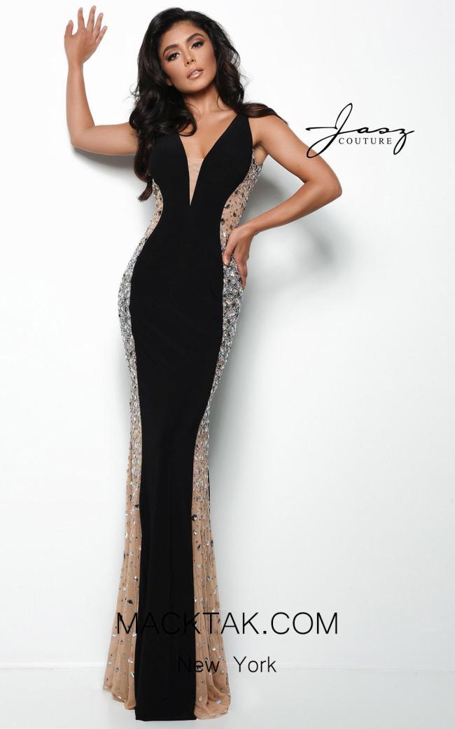 Jasz Couture 7078 Black Front Dress