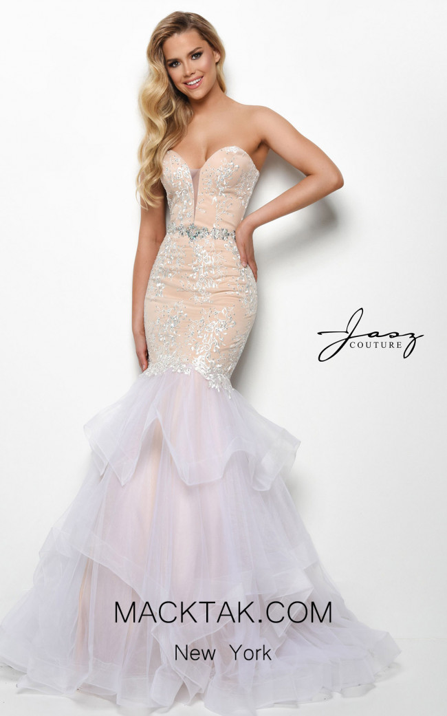 Jasz Couture 7083 Ivory Nude Front Dress