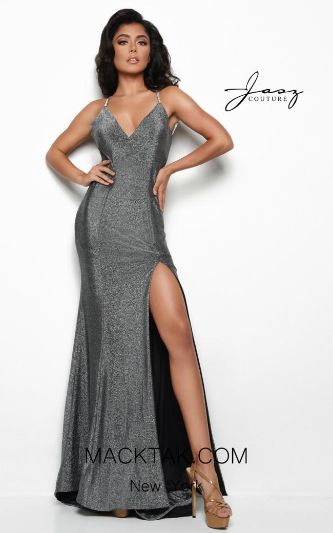 Jasz Couture 7085 Gunmetal Front Dress