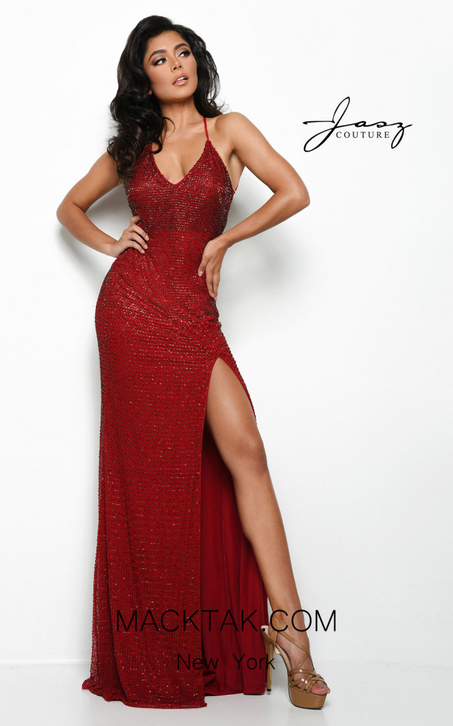 Jasz Couture 7086 Red Front Dress