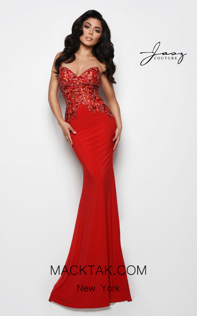 Jasz Couture 7089 Red Front Dress