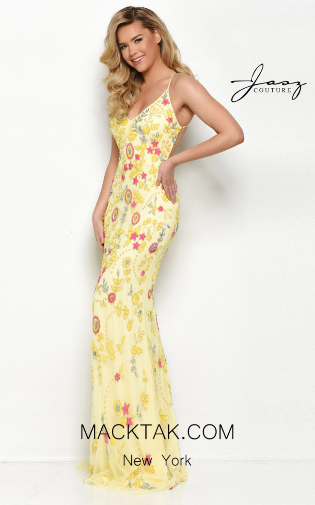 Jasz Couture 7096 Yellow Multi Front Dress