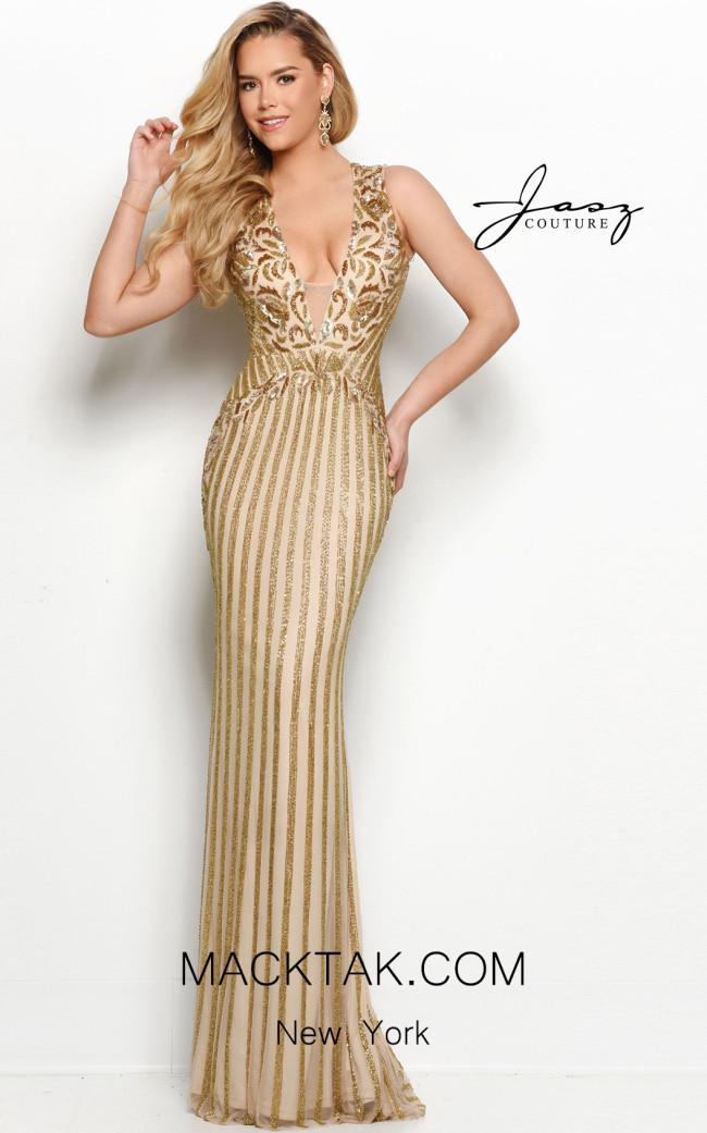Jasz Couture 7105 Gold Front Dress