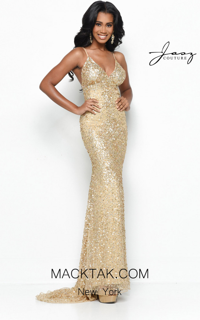Jasz Couture 7113 Gold Front Dress