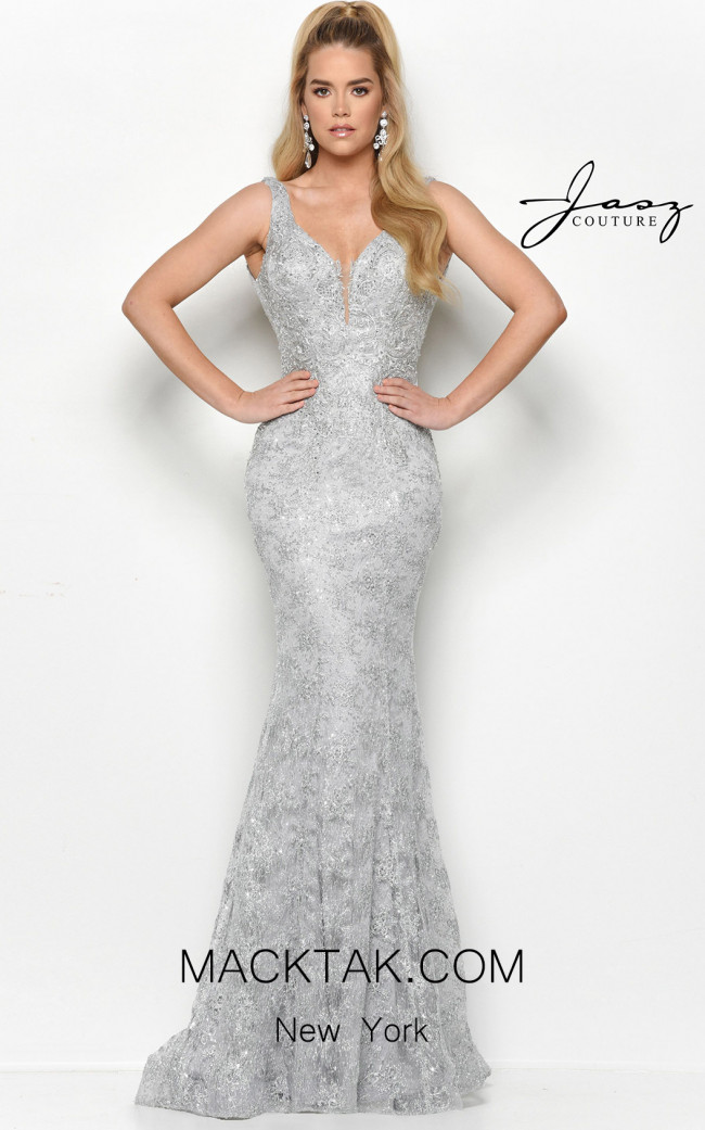 Jasz Couture 7122 Silver Front Dress