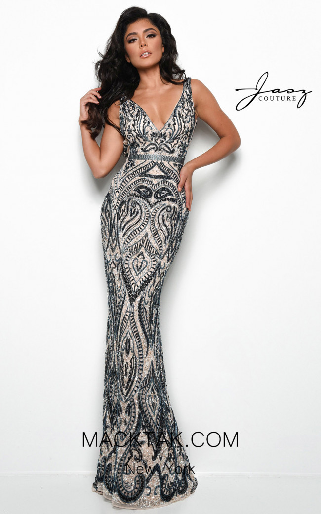 Jasz Couture 7125 Nude Navy Front Dress
